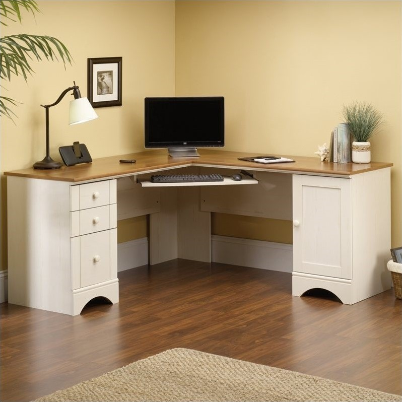 Corner Computer Desk in Antiqued White - 403793