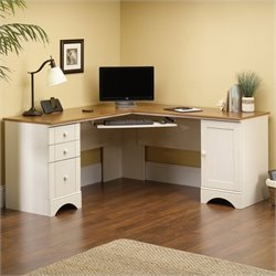 Sauder Harbor View Corner Computer Desk in Antiqued White