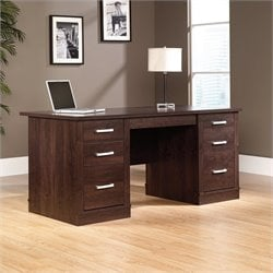 Sauder Office Port Executive Computer Desk in Dark Alder