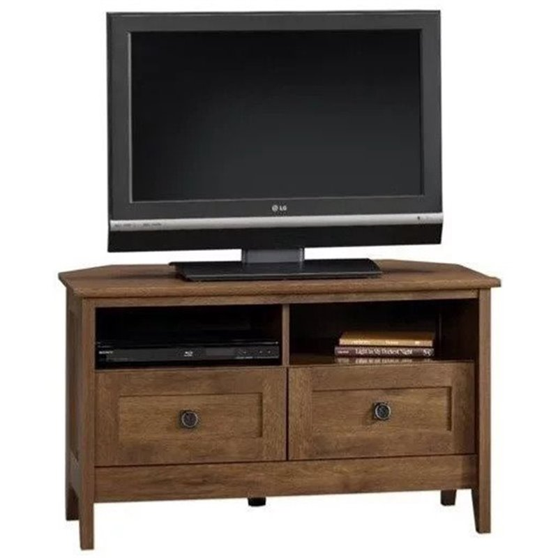 Corner TV Stand in Oiled Oak