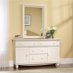 Sauder Harbor View Dresser and Mirror Set in Antiqued White