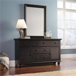 Sauder Harbor View Dresser and Mirror Set in Antiqued Paint