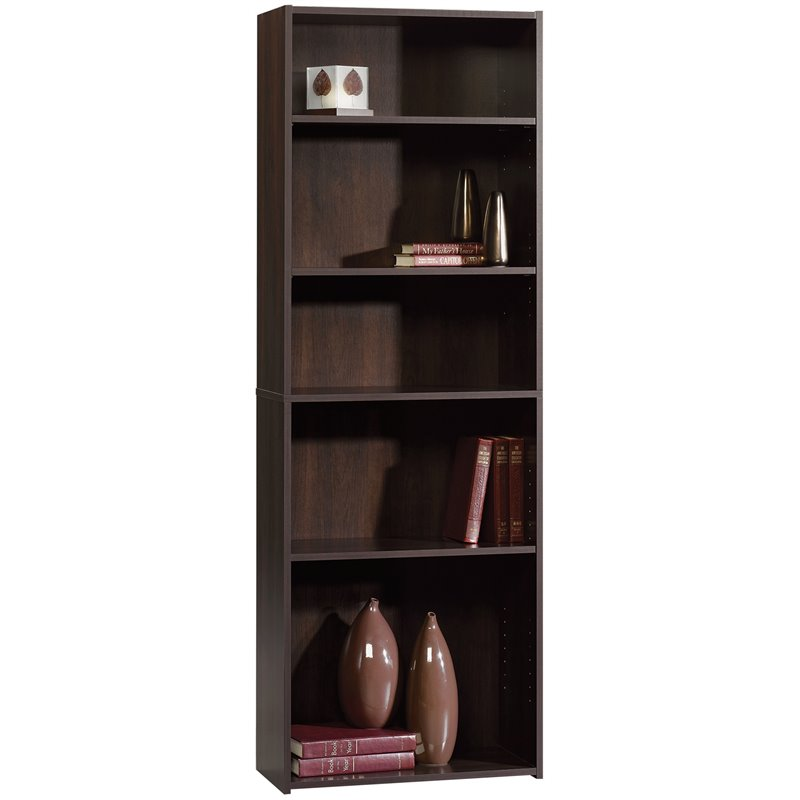 Sauder Beginnings 5-Shelf Bookcase in Cinnamon Cherry