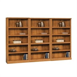 Sauder Select Five Shelf Wall Bookcase in Abbey Oak Finish