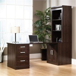 Sauder Office Port Library Desk with Hutch in Dark Alder Finish