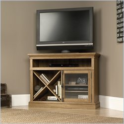 Sauder Barrister Lane Corner TV Stand in Scribed Oak