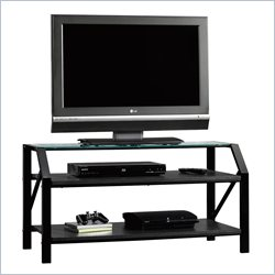Sauder Beginnings Panel TV Stand  in Black Finish