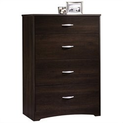 Sauder Beginnings 4 Drawer Chest in Cinnamon Cherry