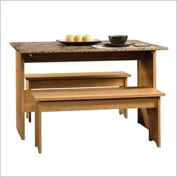 Sauder Beginnings Table With Benches in Highland Oak