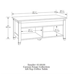 Sauder Carson Forge Lift-Top Coffee Table in Washington Cherry