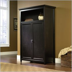 Sauder Edge Water  Computer Armoire in Estate Black