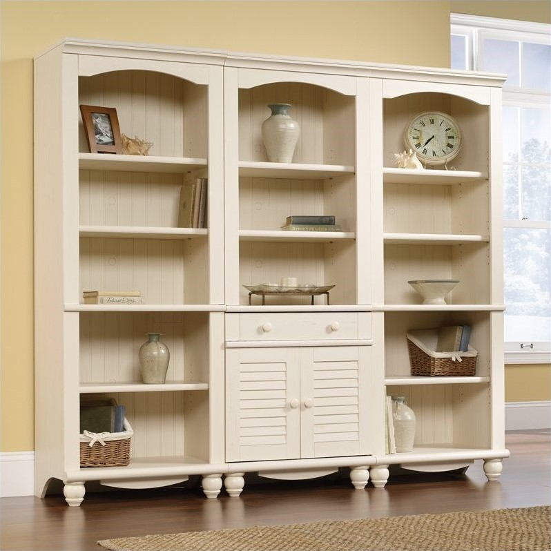 Library Wall Bookcase in Antiqued White - Library Wall Bookcase In Antiqued White - 158082-158085-3PKG