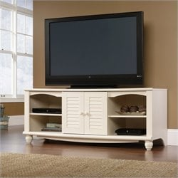 Sauder Harbor View Entertainment Credenza in Antiqued White