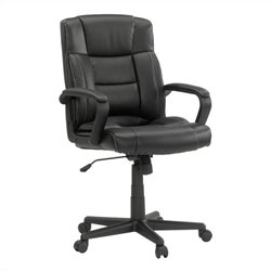 Sauder Manager Chair Leather Black in Chair Black