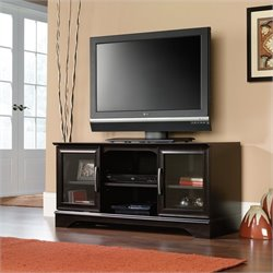 Sauder Panel TV Stand With Post-Mount in Estate Black