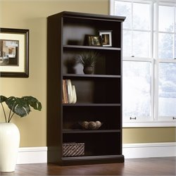 Sauder Select Library 5 Shelf Bookcase in Estate Black