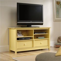 Sauder Original Cottage TV Stand in Melon Yellow
