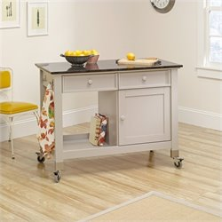 Mobile Kitchen Island in Cobblestone