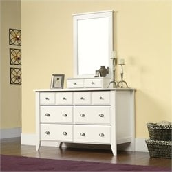 Dresser and Mirror Set in Soft White