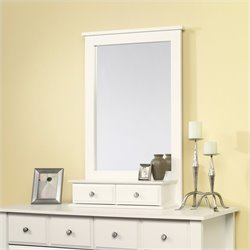 Sauder Shoal Creek Mirror in Soft White Finish