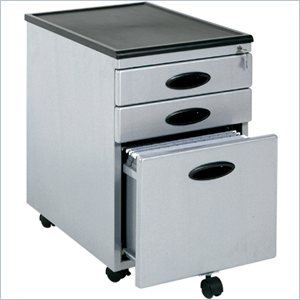 Sauder Mobile 3 Drawer Metal Mobile Vertical File Cabinet in Silver and Black