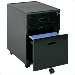 Sauder 3 Drawer Mobile Metal File Cabinet in Black