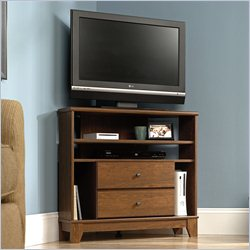 Sauder Camarin Corner TV Stand in Milled Cherry