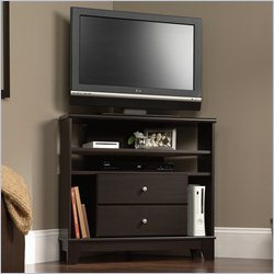 Sauder Camarin Corner TV Stand in Jamocha Wood