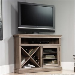 Corner Entertainment Stand in Salt Oak