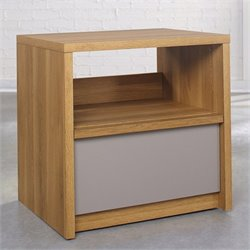 Sauder Soft Modern Nightstand in Pale Oak with Moccasin