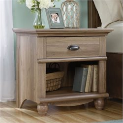 Sauder Harbor View 1 Drawer Wood Nightstand in Salt Oak
