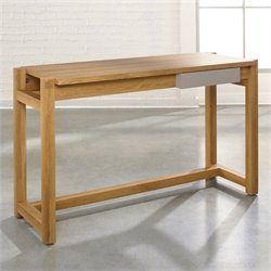 Sauder Soft Modern Desk in Pale Oak with Moccasin
