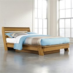 Sauder Soft Modern Queen Platform Bed in Pale Oak
