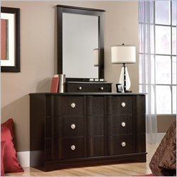 Sauder Embassy Point Dresser and Mirror in Wind Oak