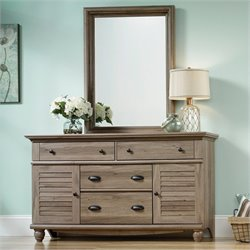 Sauder Harbor View Dresser and Mirror in Salt Oak