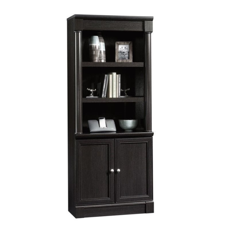 Sauder Palladia Engineered Wood and Metal 3-Shelf Bookcase in Wind Oak