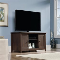 Sauder County Line TV Stand in Rum Walnut