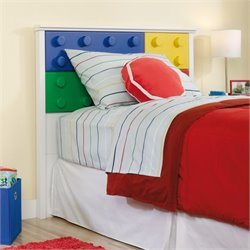 Sauder Primary Street Block Panel Headboard in Soft White