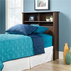 Sauder County Line Twin Bookcase Headboard in Rum Walnut