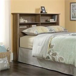 Sauder County Line Queen Bookcase Headboard in Salt Oak