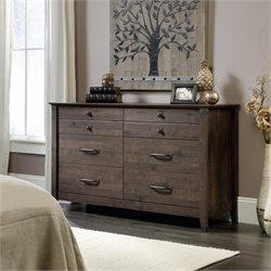 Sauder Carson Forge 6 Drawer Dresser in Coffee Oak