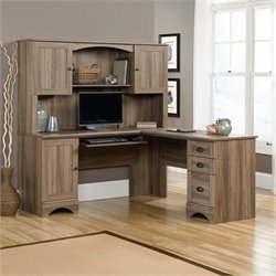 Sauder Harbor View Computer Desk and Hutch in Salt Oak