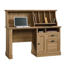 Sauder Barrister Lane Computer Desk with Hutch in Scribed Oak