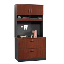2 Drawer File Cabinet and Hutch in Classic Cherry