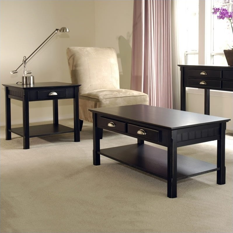 Winsome Timber 2 Piece Coffee and End Table Set in Black Beechwood