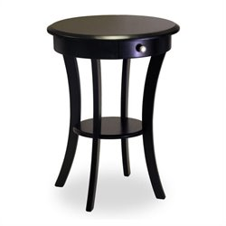 Winsome Wood Sasha Round Accent End Table with Drawer Curved Legs in Black