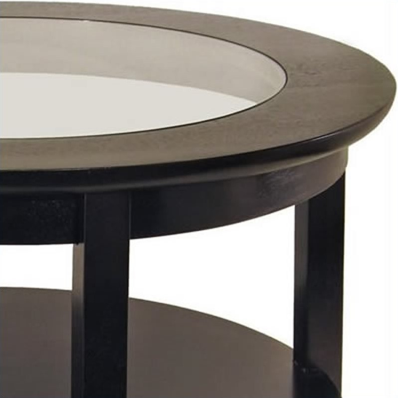 Round wood coffee table with glass top in dark espresso 92219 Dark wood coffee tables