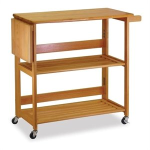 Foldable Butcher Block Kitchen Cart in Light Oak