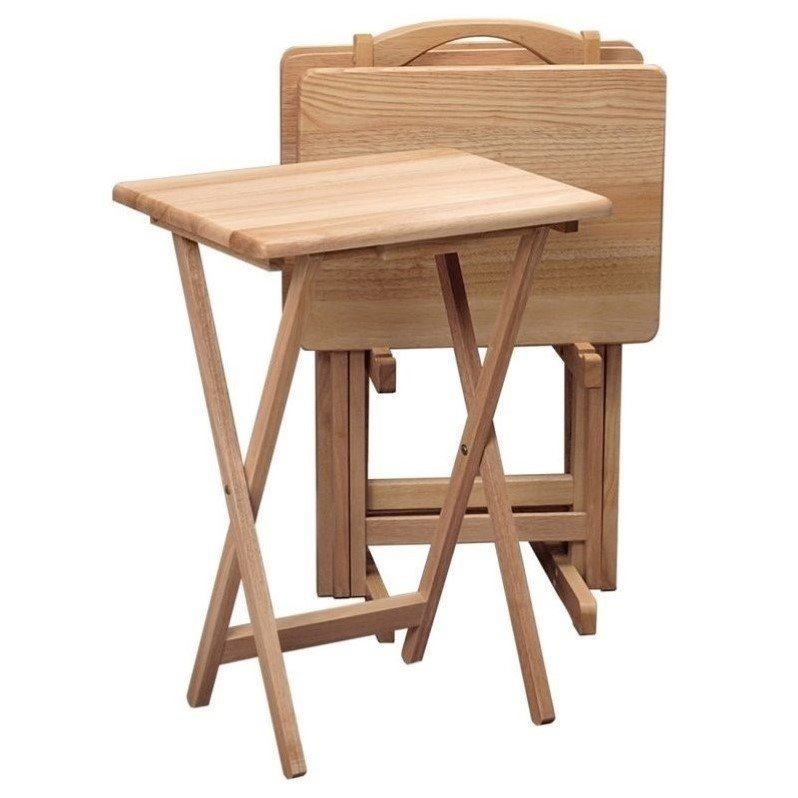 Winsome Natural Beechwood 5PC TV Table with Stand