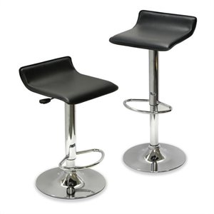 Adjustable Air Lift Bar Stools in Black (Set of 2)